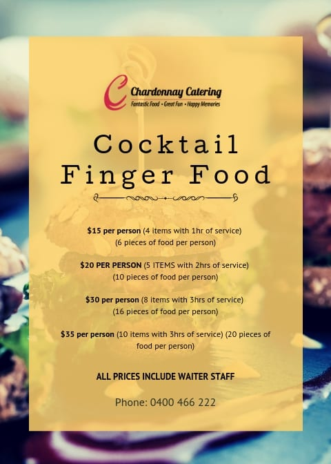 Chardonnay Catering - Cocktail & Fingerfoods